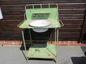 Vintage Steel French Wash Stand With Enamel Bowl