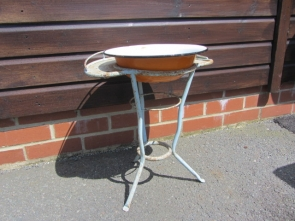Small Vintage Steel French Wash Stand With Enamel Bowl