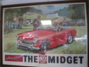 MG Midget Framed Dealership Poster