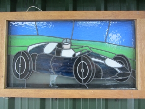 Leaded Glass Cooper Racing Car Light Box