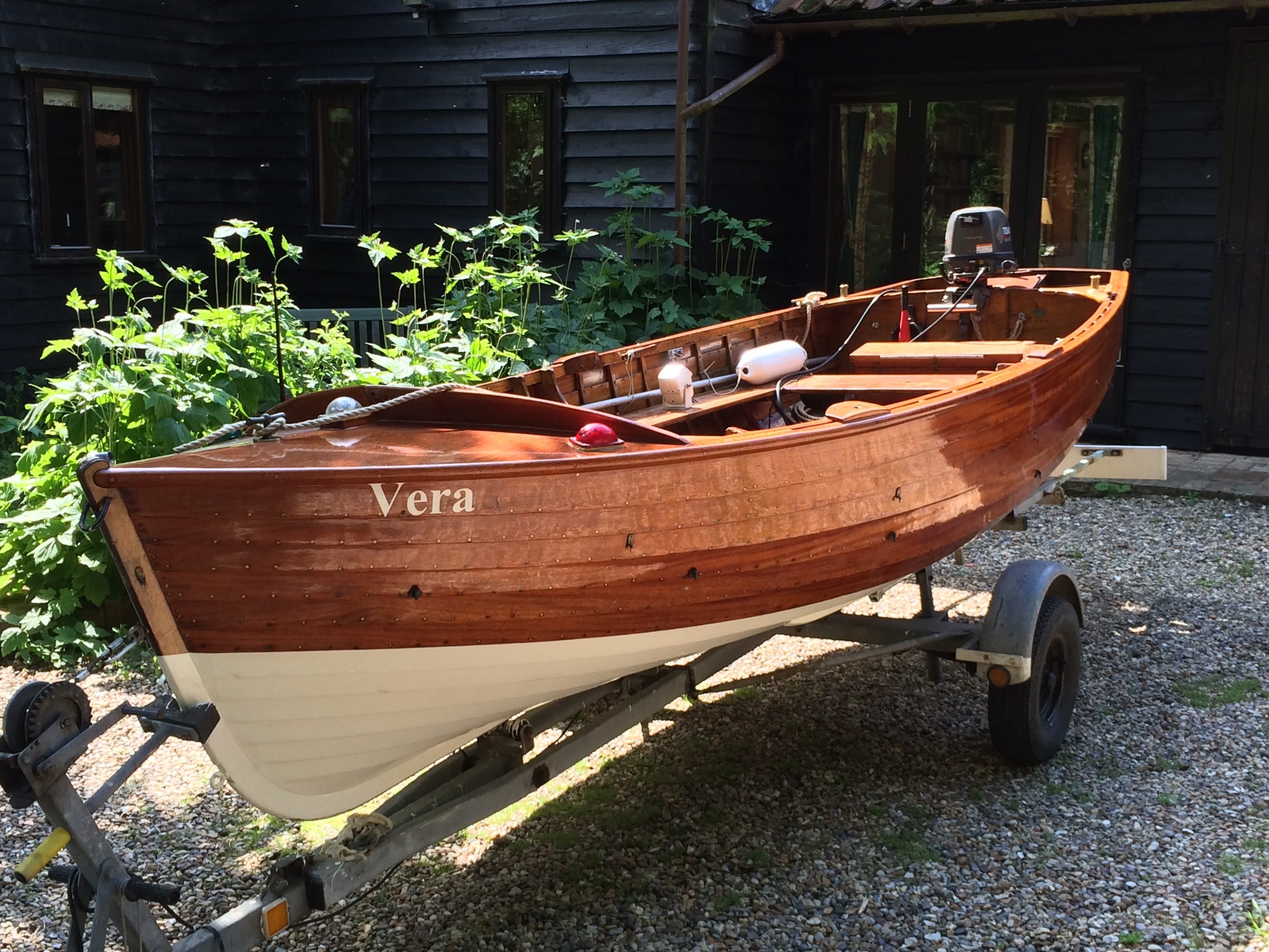 16ft traditional clinker-built wooden rowing boat for sale
