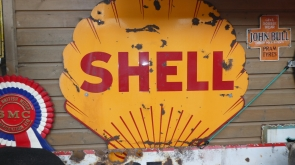 Large Shell Enamel Sign